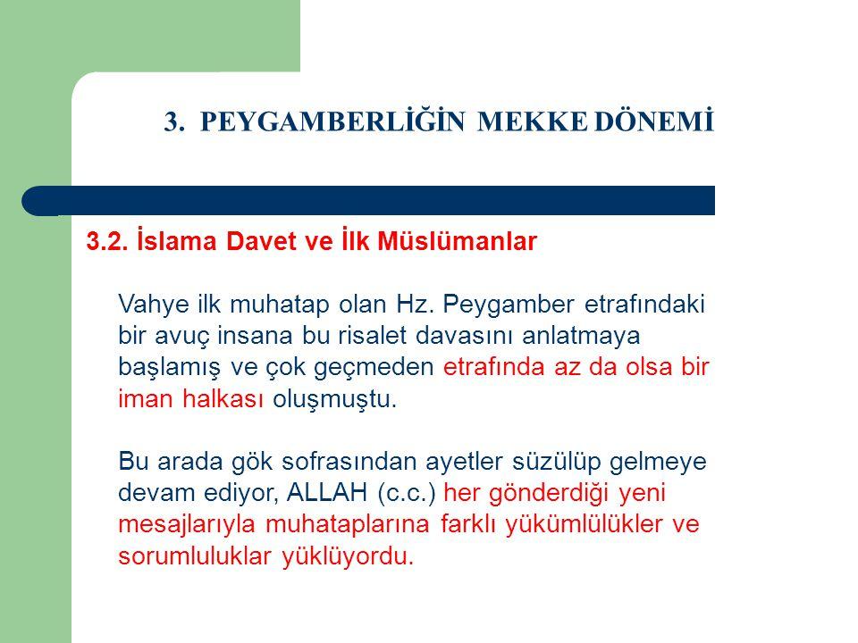 3. PEYGAMBERLİĞİN MEKKE DÖNEMİ 3.2. İslama Davet ve İlk Müslümanlar Vahye ilk muhatap olan Hz. Peygamber etrafındaki bir avuç insana bu risalet davası