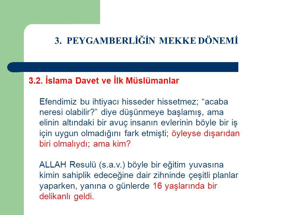 """3. PEYGAMBERLİĞİN MEKKE DÖNEMİ 3.2. İslama Davet ve İlk Müslümanlar Efendimiz bu ihtiyacı hisseder hissetmez; """"acaba neresi olabilir?"""" diye düşünmeye"""