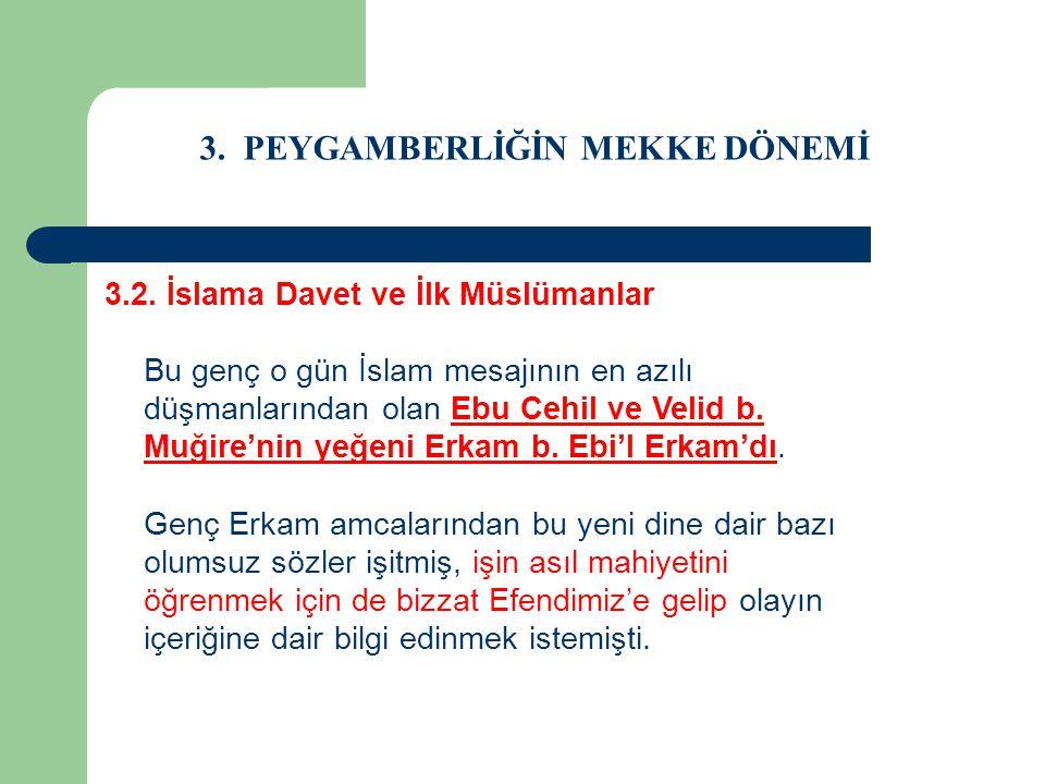 3. PEYGAMBERLİĞİN MEKKE DÖNEMİ 3.2. İslama Davet ve İlk Müslümanlar Bu genç o gün İslam mesajının en azılı düşmanlarından olan Ebu Cehil ve Velid b. M