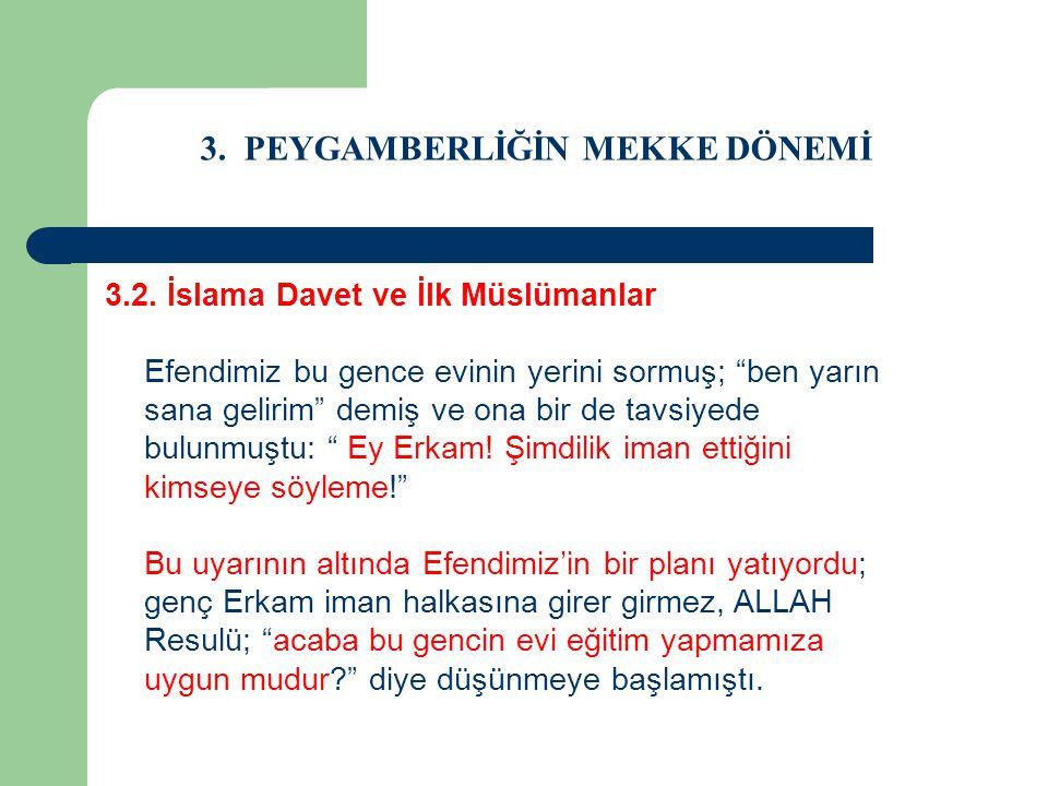 """3. PEYGAMBERLİĞİN MEKKE DÖNEMİ 3.2. İslama Davet ve İlk Müslümanlar Efendimiz bu gence evinin yerini sormuş; """"ben yarın sana gelirim"""" demiş ve ona bir"""