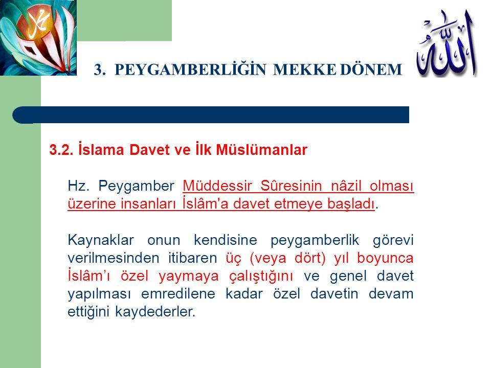 3. PEYGAMBERLİĞİN MEKKE DÖNEMİ 3.2. İslama Davet ve İlk Müslümanlar Hz. Peygamber Müddessir Sûresinin nâzil olması üzerine insanları İslâm'a davet etm