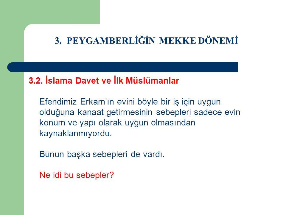 3. PEYGAMBERLİĞİN MEKKE DÖNEMİ 3.2. İslama Davet ve İlk Müslümanlar Efendimiz Erkam'ın evini böyle bir iş için uygun olduğuna kanaat getirmesinin sebe