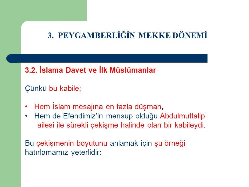 3. PEYGAMBERLİĞİN MEKKE DÖNEMİ 3.2. İslama Davet ve İlk Müslümanlar Çünkü bu kabile; Hem İslam mesajına en fazla düşman, Hem de Efendimiz'in mensup ol