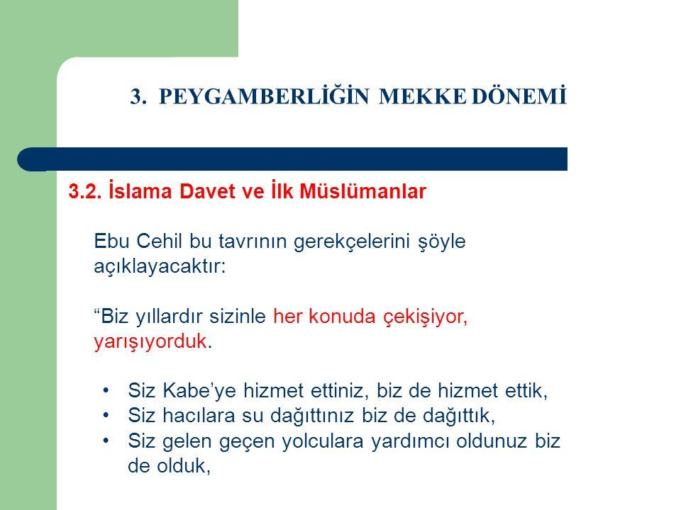 """3. PEYGAMBERLİĞİN MEKKE DÖNEMİ 3.2. İslama Davet ve İlk Müslümanlar Ebu Cehil bu tavrının gerekçelerini şöyle açıklayacaktır: """"Biz yıllardır sizinle h"""
