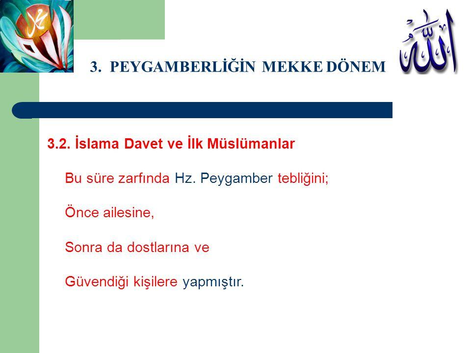 3.PEYGAMBERLİĞİN MEKKE DÖNEMİ 3.2. İslama Davet ve İlk Müslümanlar Şöyle ki; Hz.