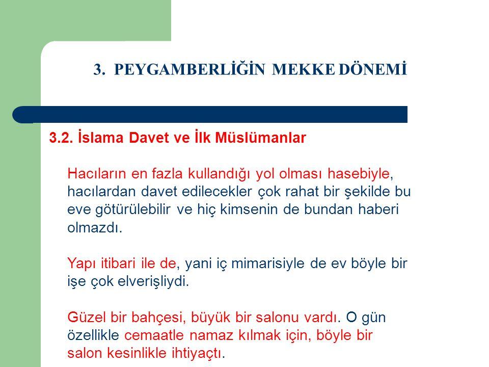 3. PEYGAMBERLİĞİN MEKKE DÖNEMİ 3.2. İslama Davet ve İlk Müslümanlar Hacıların en fazla kullandığı yol olması hasebiyle, hacılardan davet edilecekler ç