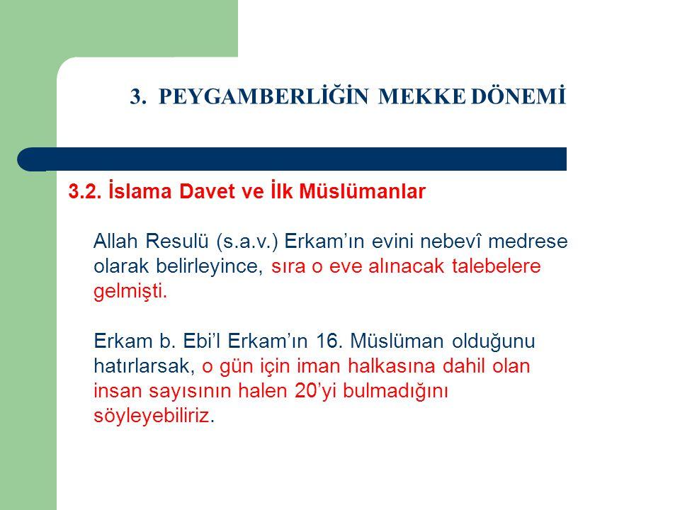 3. PEYGAMBERLİĞİN MEKKE DÖNEMİ 3.2. İslama Davet ve İlk Müslümanlar Allah Resulü (s.a.v.) Erkam'ın evini nebevî medrese olarak belirleyince, sıra o ev