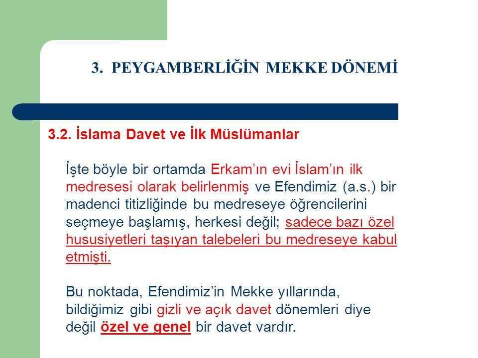 3. PEYGAMBERLİĞİN MEKKE DÖNEMİ 3.2. İslama Davet ve İlk Müslümanlar İşte böyle bir ortamda Erkam'ın evi İslam'ın ilk medresesi olarak belirlenmiş ve E