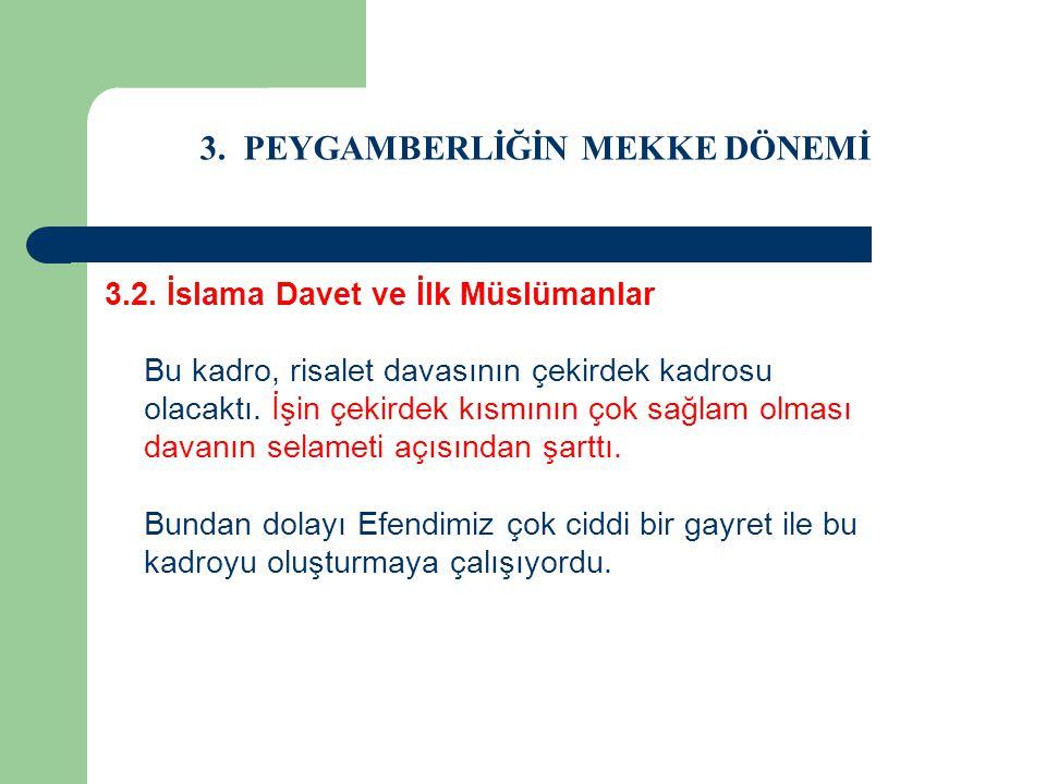 3. PEYGAMBERLİĞİN MEKKE DÖNEMİ 3.2. İslama Davet ve İlk Müslümanlar Bu kadro, risalet davasının çekirdek kadrosu olacaktı. İşin çekirdek kısmının çok