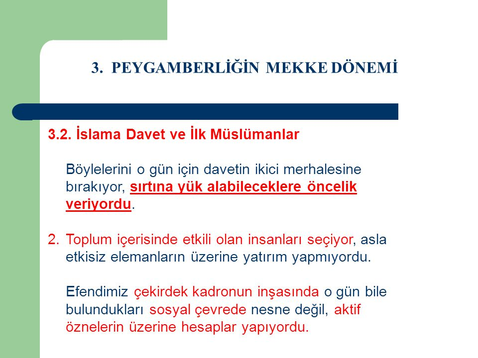 3. PEYGAMBERLİĞİN MEKKE DÖNEMİ 3.2. İslama Davet ve İlk Müslümanlar Böylelerini o gün için davetin ikici merhalesine bırakıyor, sırtına yük alabilecek
