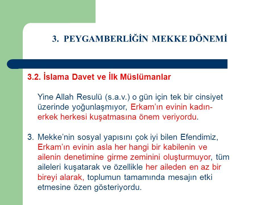3. PEYGAMBERLİĞİN MEKKE DÖNEMİ 3.2. İslama Davet ve İlk Müslümanlar Yine Allah Resulü (s.a.v.) o gün için tek bir cinsiyet üzerinde yoğunlaşmıyor, Erk