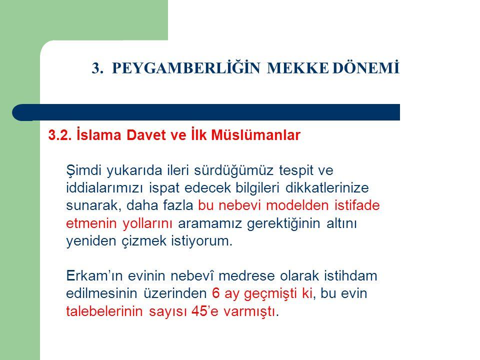3. PEYGAMBERLİĞİN MEKKE DÖNEMİ 3.2. İslama Davet ve İlk Müslümanlar Şimdi yukarıda ileri sürdüğümüz tespit ve iddialarımızı ispat edecek bilgileri dik