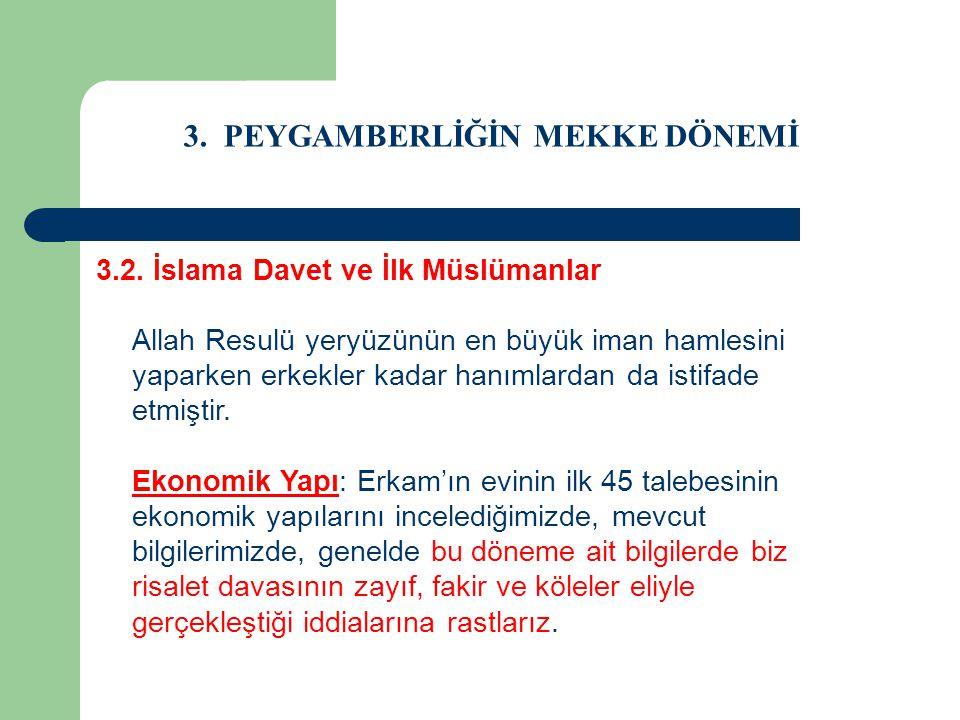 3. PEYGAMBERLİĞİN MEKKE DÖNEMİ 3.2. İslama Davet ve İlk Müslümanlar Allah Resulü yeryüzünün en büyük iman hamlesini yaparken erkekler kadar hanımlarda