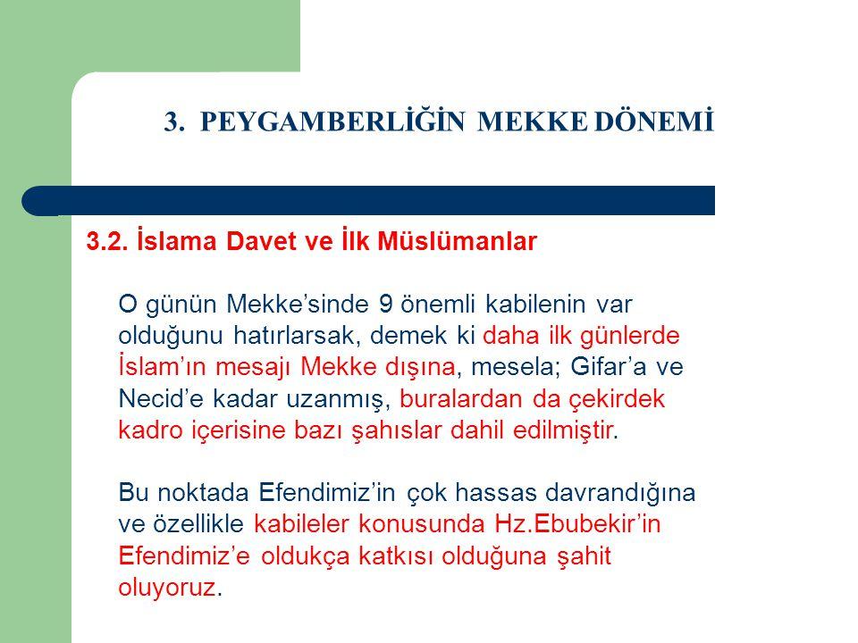 3. PEYGAMBERLİĞİN MEKKE DÖNEMİ 3.2. İslama Davet ve İlk Müslümanlar O günün Mekke'sinde 9 önemli kabilenin var olduğunu hatırlarsak, demek ki daha ilk