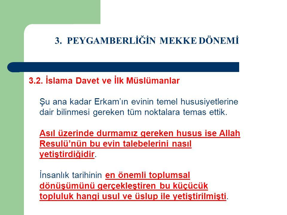3. PEYGAMBERLİĞİN MEKKE DÖNEMİ 3.2. İslama Davet ve İlk Müslümanlar Şu ana kadar Erkam'ın evinin temel hususiyetlerine dair bilinmesi gereken tüm nokt