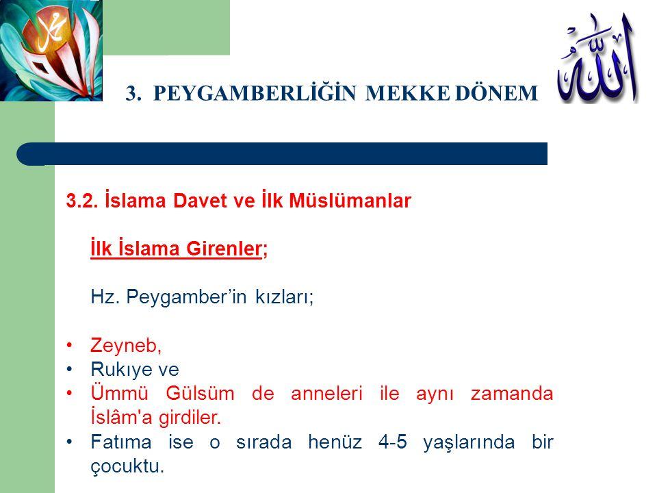 3. PEYGAMBERLİĞİN MEKKE DÖNEMİ 3.2. İslama Davet ve İlk Müslümanlar İlk İslama Girenler; Hz. Peygamber'in kızları; Zeyneb, Rukıye ve Ümmü Gülsüm de an