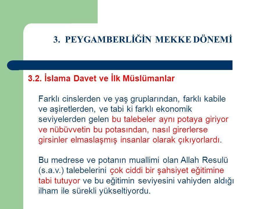 3. PEYGAMBERLİĞİN MEKKE DÖNEMİ 3.2. İslama Davet ve İlk Müslümanlar Farklı cinslerden ve yaş gruplarından, farklı kabile ve aşiretlerden, ve tabi ki f