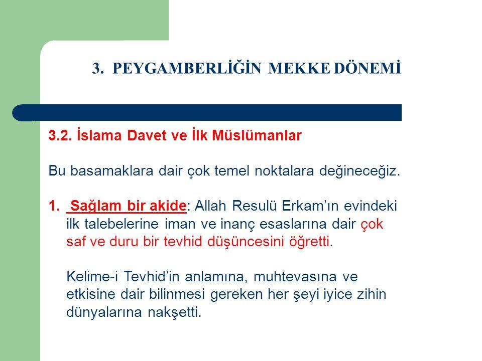 3. PEYGAMBERLİĞİN MEKKE DÖNEMİ 3.2. İslama Davet ve İlk Müslümanlar Bu basamaklara dair çok temel noktalara değineceğiz. 1. Sağlam bir akide: Allah Re