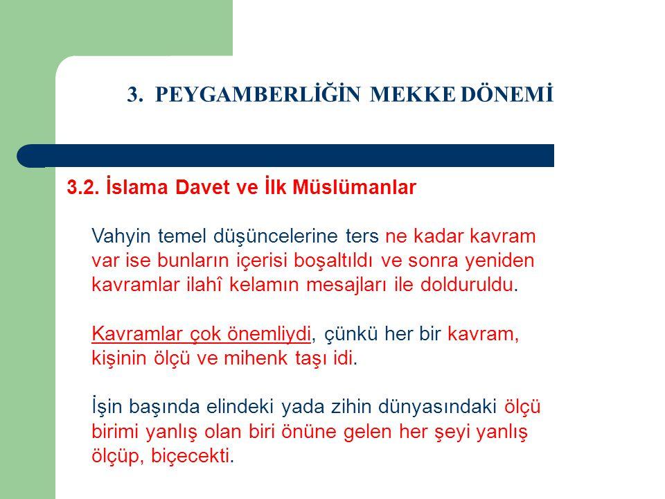 3. PEYGAMBERLİĞİN MEKKE DÖNEMİ 3.2. İslama Davet ve İlk Müslümanlar Vahyin temel düşüncelerine ters ne kadar kavram var ise bunların içerisi boşaltıld