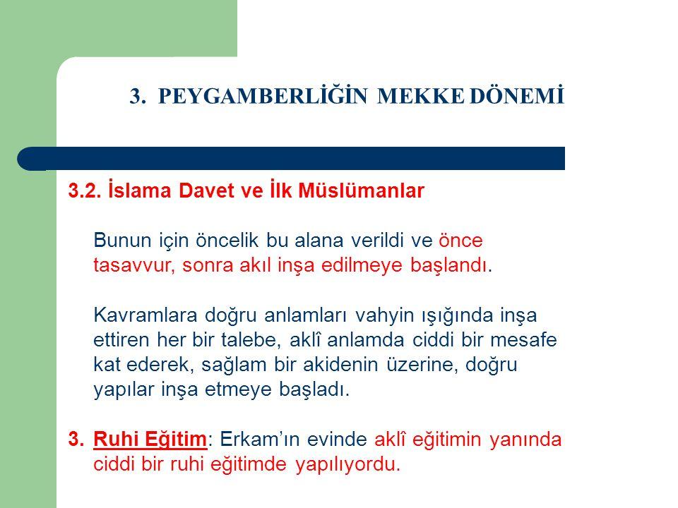 3. PEYGAMBERLİĞİN MEKKE DÖNEMİ 3.2. İslama Davet ve İlk Müslümanlar Bunun için öncelik bu alana verildi ve önce tasavvur, sonra akıl inşa edilmeye baş