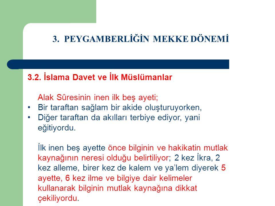 3. PEYGAMBERLİĞİN MEKKE DÖNEMİ 3.2. İslama Davet ve İlk Müslümanlar Alak Sûresinin inen ilk beş ayeti; Bir taraftan sağlam bir akide oluşturuyorken, D
