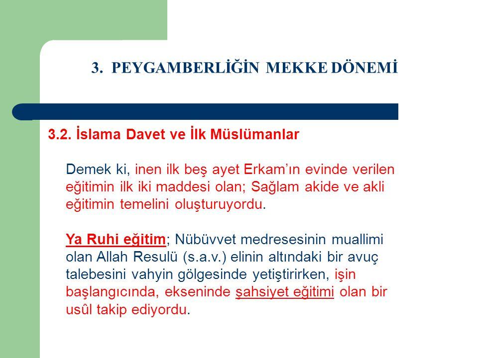 3. PEYGAMBERLİĞİN MEKKE DÖNEMİ 3.2. İslama Davet ve İlk Müslümanlar Demek ki, inen ilk beş ayet Erkam'ın evinde verilen eğitimin ilk iki maddesi olan;