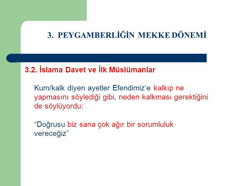 3. PEYGAMBERLİĞİN MEKKE DÖNEMİ 3.2. İslama Davet ve İlk Müslümanlar Kum/kalk diyen ayetler Efendimiz'e kalkıp ne yapmasını söylediği gibi, neden kalkm