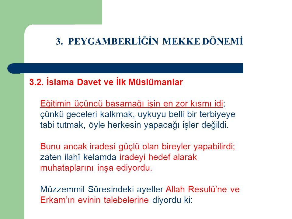 3. PEYGAMBERLİĞİN MEKKE DÖNEMİ 3.2. İslama Davet ve İlk Müslümanlar Eğitimin üçüncü basamağı işin en zor kısmı idi; çünkü geceleri kalkmak, uykuyu bel