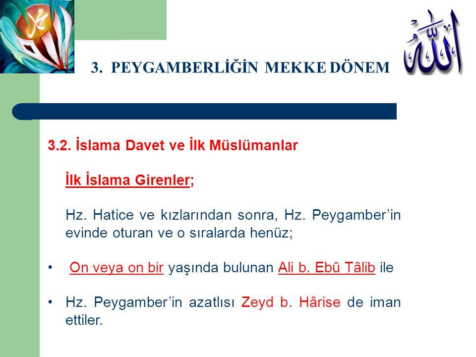3.PEYGAMBERLİĞİN MEKKE DÖNEMİ 3.2. İslama Davet ve İlk Müslümanlar Vahye ilk muhatap olan Hz.