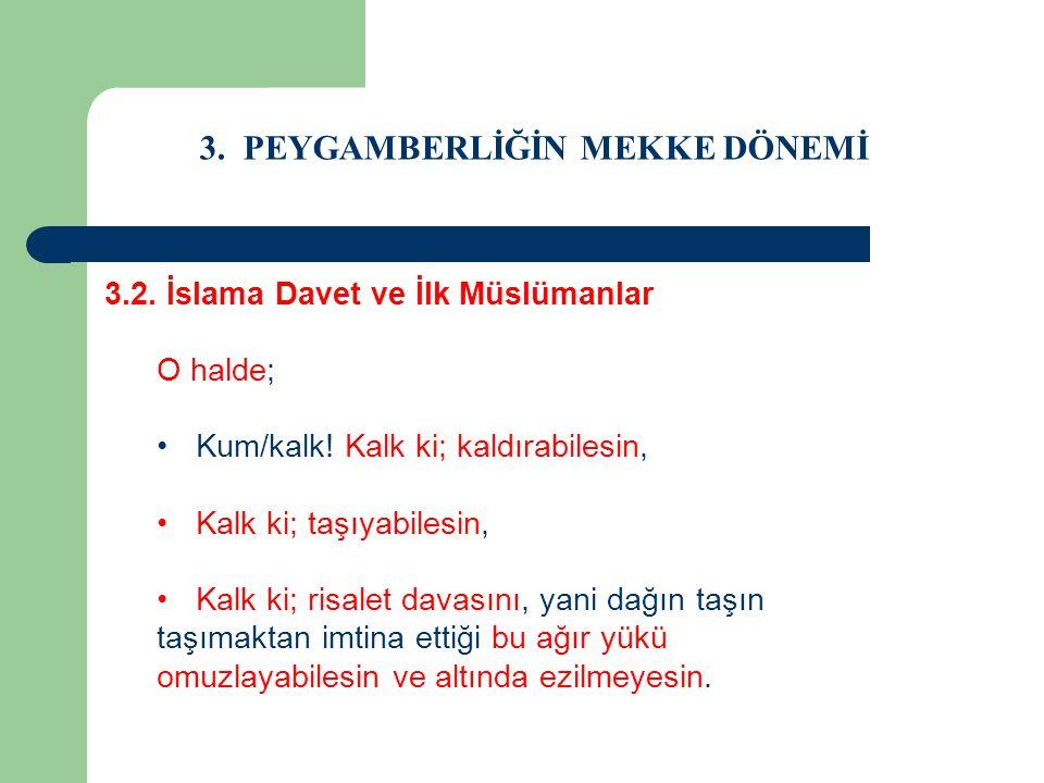 3. PEYGAMBERLİĞİN MEKKE DÖNEMİ 3.2. İslama Davet ve İlk Müslümanlar O halde; Kum/kalk! Kalk ki; kaldırabilesin, Kalk ki; taşıyabilesin, Kalk ki; risal