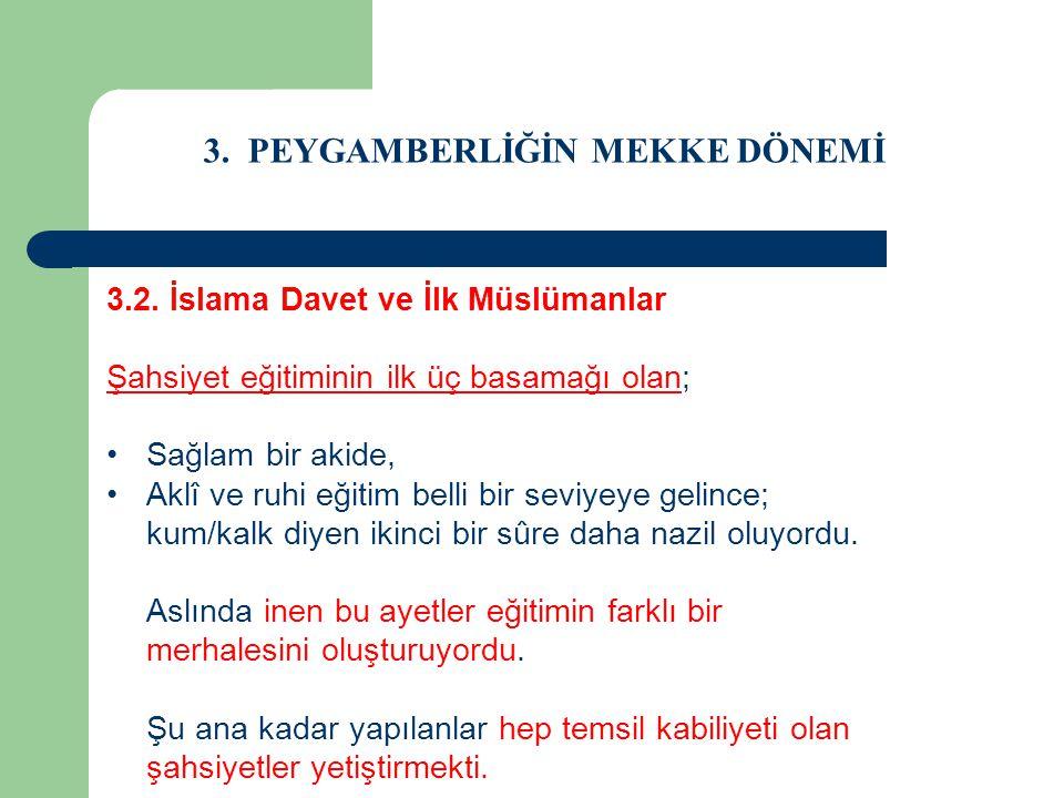 3. PEYGAMBERLİĞİN MEKKE DÖNEMİ 3.2. İslama Davet ve İlk Müslümanlar Şahsiyet eğitiminin ilk üç basamağı olan; Sağlam bir akide, Aklî ve ruhi eğitim be