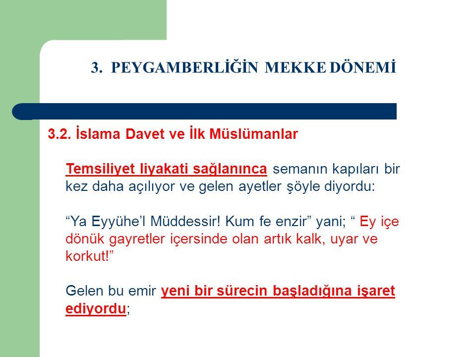 3. PEYGAMBERLİĞİN MEKKE DÖNEMİ 3.2. İslama Davet ve İlk Müslümanlar Temsiliyet liyakati sağlanınca semanın kapıları bir kez daha açılıyor ve gelen aye