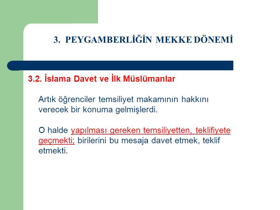 3. PEYGAMBERLİĞİN MEKKE DÖNEMİ 3.2. İslama Davet ve İlk Müslümanlar Artık öğrenciler temsiliyet makamının hakkını verecek bir konuma gelmişlerdi. O ha