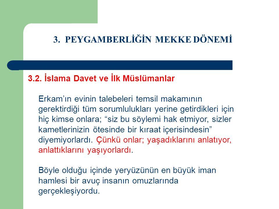 3. PEYGAMBERLİĞİN MEKKE DÖNEMİ 3.2. İslama Davet ve İlk Müslümanlar Erkam'ın evinin talebeleri temsil makamının gerektirdiği tüm sorumlulukları yerine