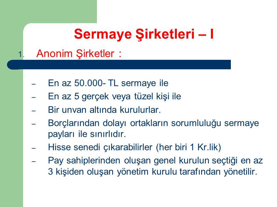 Sermaye Şirketleri – I 1.