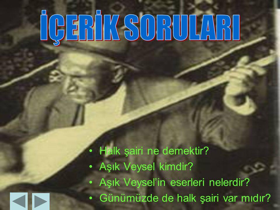 Halk şairi ne demektir.Aşık Veysel kimdir. Aşık Veysel'in eserleri nelerdir.