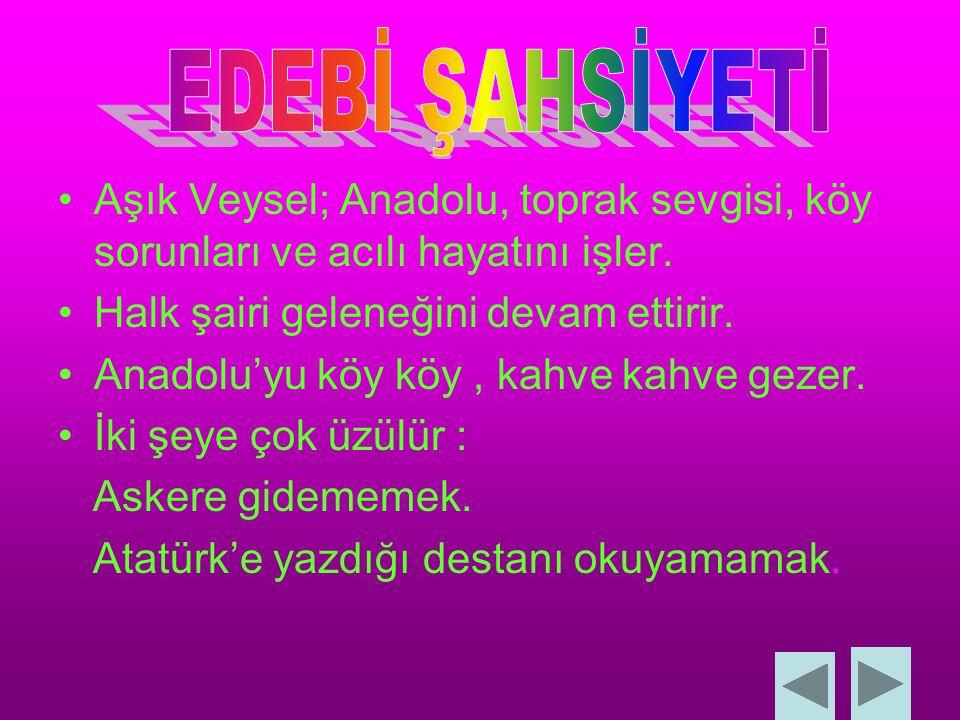 Aşık Veysel; Anadolu, toprak sevgisi, köy sorunları ve acılı hayatını işler.