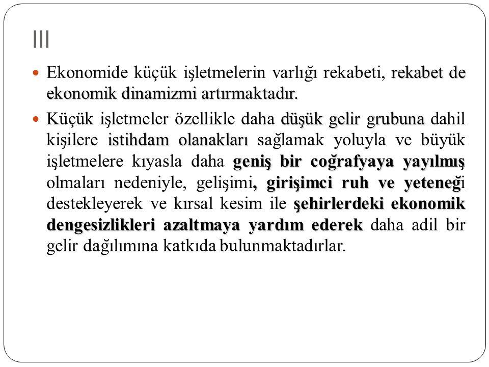 III rekabet de ekonomik dinamizmi artırmaktadır. Ekonomide küçük is ̧ letmelerin varlıg ̆ ı rekabeti, rekabet de ekonomik dinamizmi artırmaktadır. düs