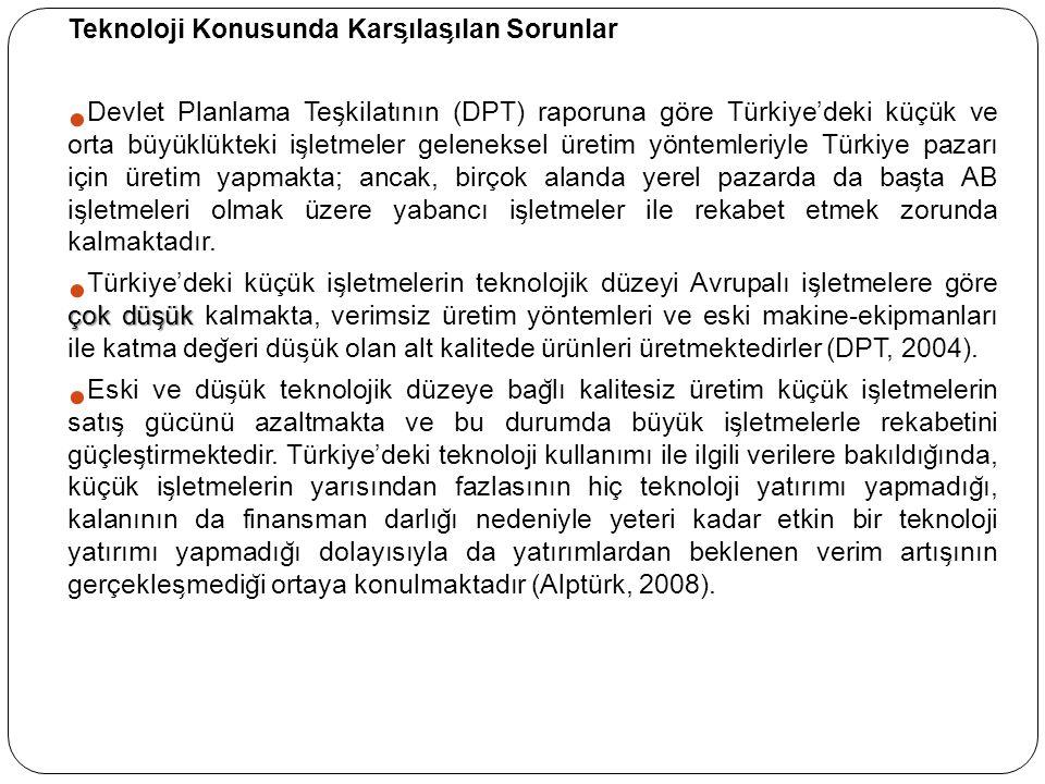Teknoloji Konusunda Kars ̧ ılas ̧ ılan Sorunlar Devlet Planlama Tes ̧ kilatının (DPT) raporuna göre Türkiye'deki küçük ve orta büyüklükteki is ̧ letme