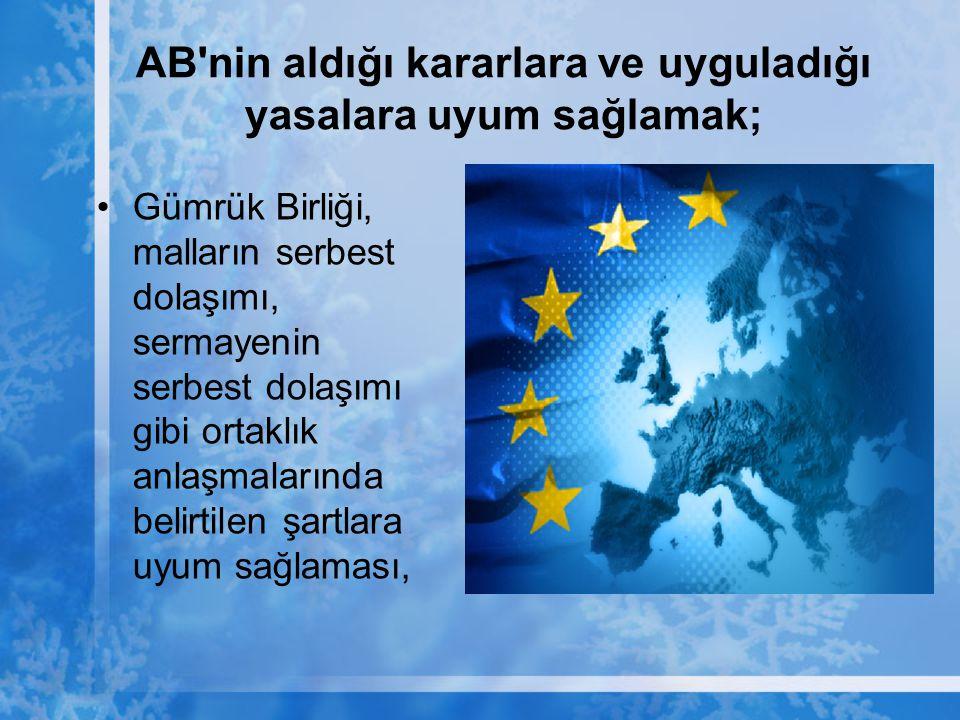 AB'nin aldığı kararlara ve uyguladığı yasalara uyum sağlamak; Gümrük Birliği, malların serbest dolaşımı, sermayenin serbest dolaşımı gibi ortaklık anl