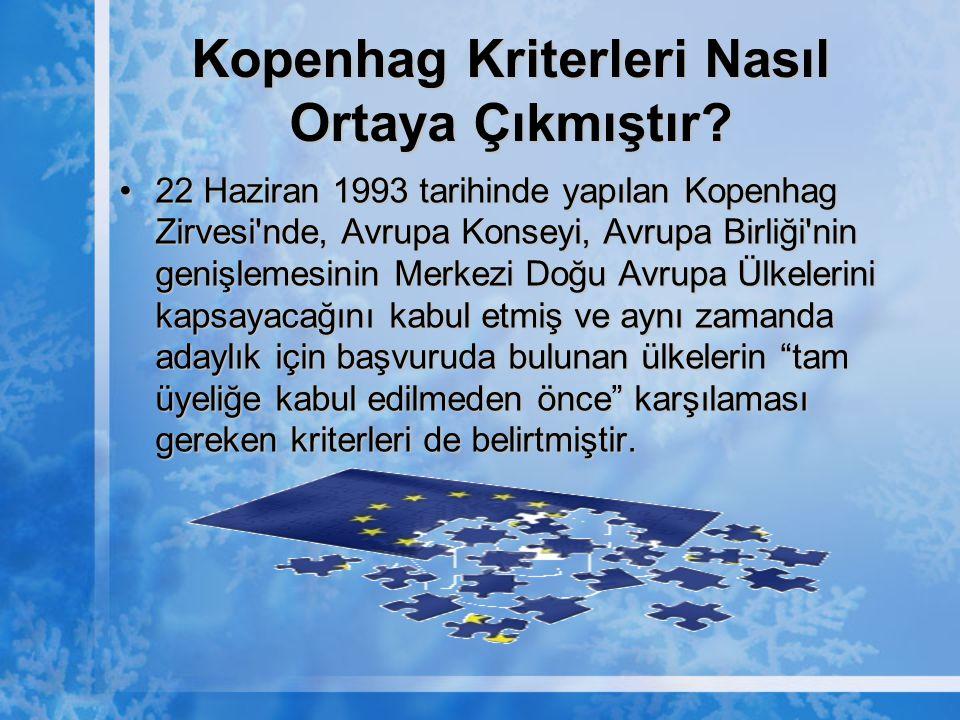 Kopenhag Kriterleri Nasıl Ortaya Çıkmıştır? 22 Haziran 1993 tarihinde yapılan Kopenhag Zirvesi'nde, Avrupa Konseyi, Avrupa Birliği'nin genişlemesinin