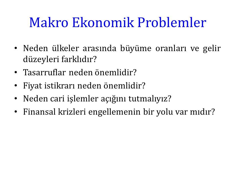 Makro Ekonomik Problemler Neden ülkeler arasında büyüme oranları ve gelir düzeyleri farklıdır? Tasarruflar neden önemlidir? Fiyat istikrarı neden önem