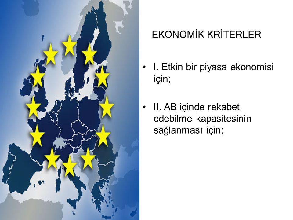 I. Etkin bir piyasa ekonomisi için; II.