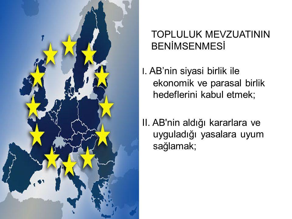 I. AB'nin siyasi birlik ile ekonomik ve parasal birlik hedeflerini kabul etmek; II.