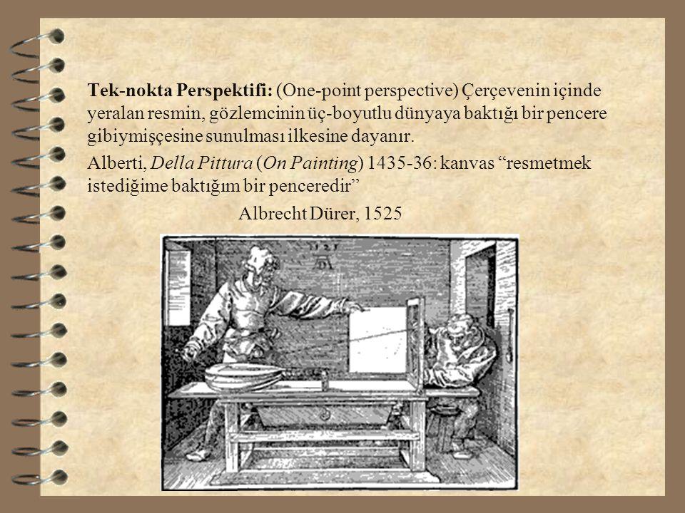 Tek-nokta Perspektifi: (One-point perspective) Çerçevenin içinde yeralan resmin, gözlemcinin üç-boyutlu dünyaya baktığı bir pencere gibiymişçesine sun
