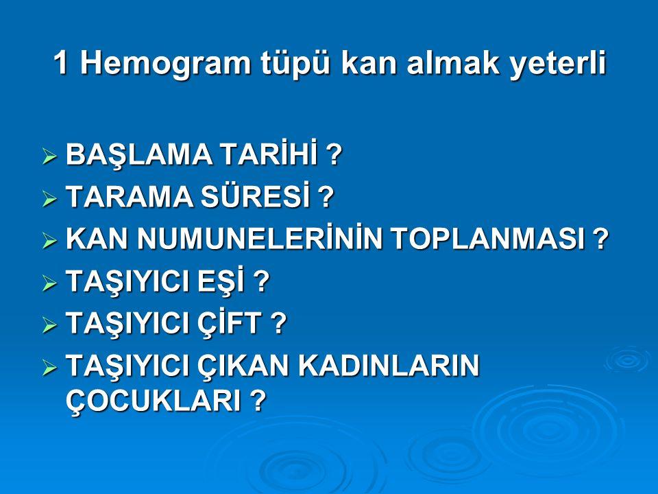 1 Hemogram tüpü kan almak yeterli  BAŞLAMA TARİHİ .