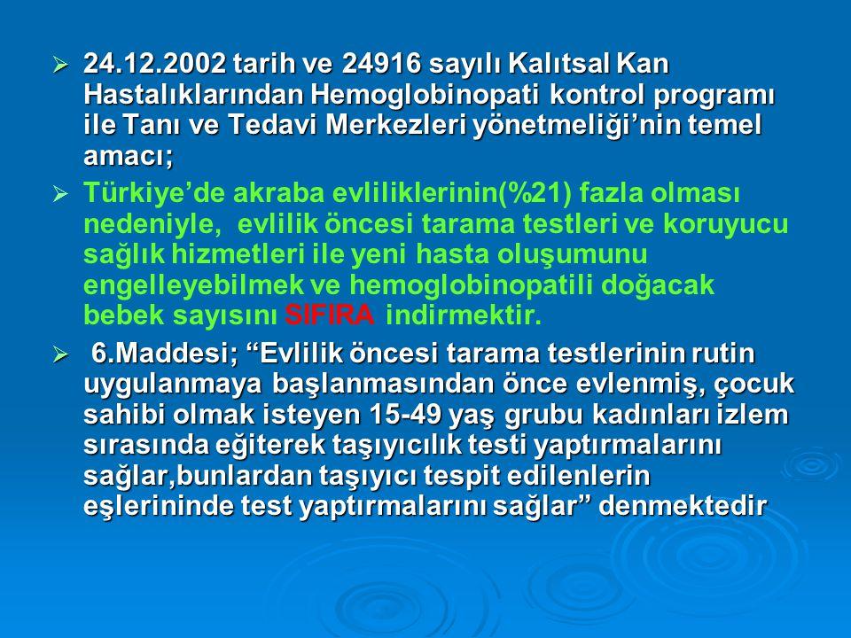  24.12.2002 tarih ve 24916 sayılı Kalıtsal Kan Hastalıklarından Hemoglobinopati kontrol programı ile Tanı ve Tedavi Merkezleri yönetmeliği'nin temel amacı;   Türkiye'de akraba evliliklerinin(%21) fazla olması nedeniyle, evlilik öncesi tarama testleri ve koruyucu sağlık hizmetleri ile yeni hasta oluşumunu engelleyebilmek ve hemoglobinopatili doğacak bebek sayısını SIFIRA indirmektir.