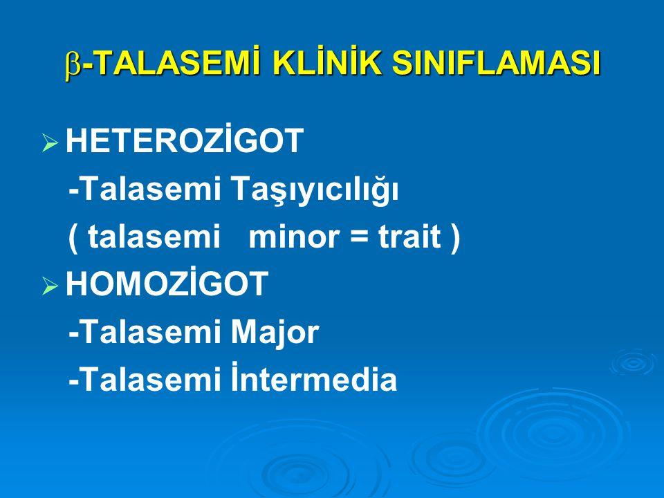  -TALASEMİ KLİNİK SINIFLAMASI   HETEROZİGOT -Talasemi Taşıyıcılığı ( talasemi minor = trait )   HOMOZİGOT -Talasemi Major -Talasemi İntermedia