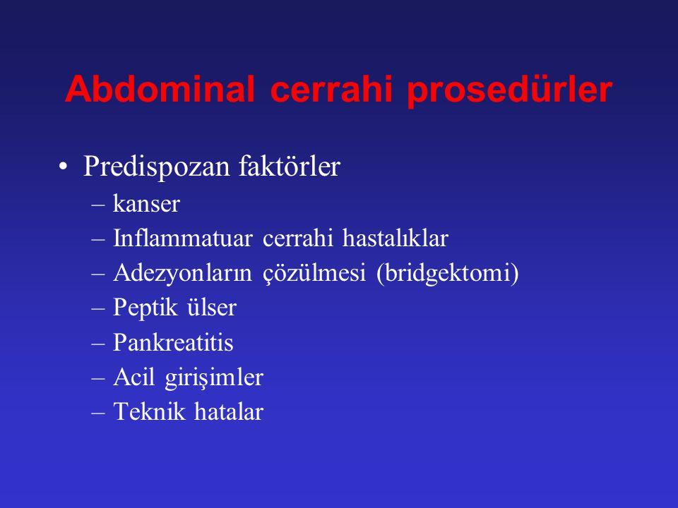 Etioloji Abdominal cerrahi prosedürler –Tüm nedenlerin 67-85% Inflammatuar barsak hastalıkları Divertiküler hastalıklar Malignite Radyasyon enteriti T