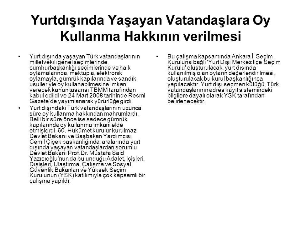 Yurtdışında Yaşayan Vatandaşlara Oy Kullanma Hakkının verilmesi Yurt dışında yaşayan Türk vatandaşlarının milletvekili genel seçimlerinde, cumhurbaşka